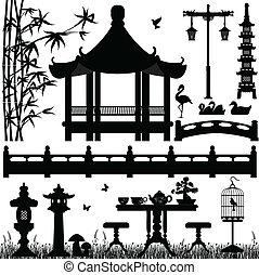 A set of Asian garden scenery.