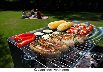 Garden party - A summer garden party with grilled food