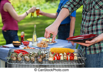 Garden party - A summer garden paty with grilled snacks and...