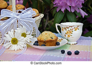 Garden Party - Blueberry muffins with a vintage tea cup.