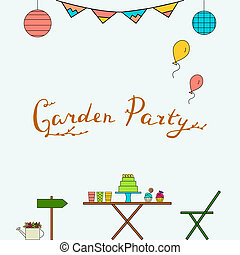 Garden Party Invitation Card Message On A Wooden Panel And
