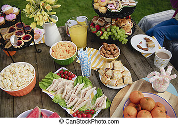 Garden Party Food - High angle view of a table outdoors with...