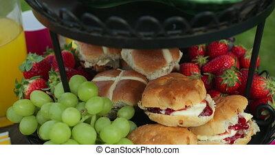 Garden Party Food - Panning shot of garden party food...