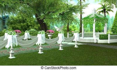 image of garden wedding party