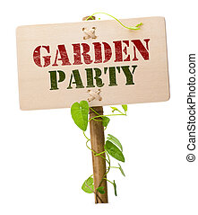garden party invitation card message on a wooden panel and...