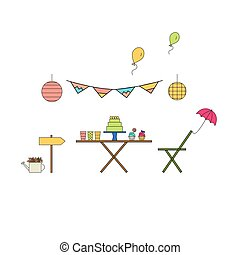 Garden party line icon set. Vector illustration.