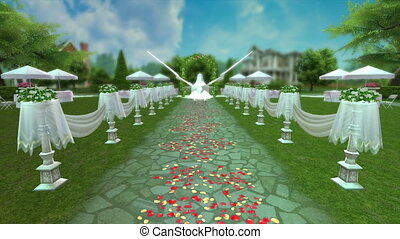 garden party - image of garden wedding party