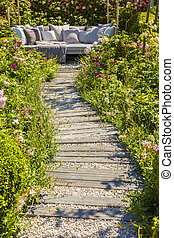 Garden path leading to seating area