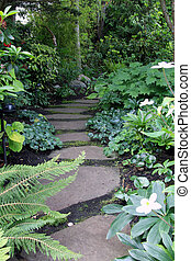 Garden path lined with shade perennials