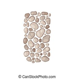 Garden path of stones. View from above. Vector illustration.