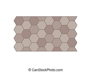 Garden path of tiles. View from above. Vector illustration.