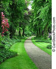 Garden path - A path through a verdant garden
