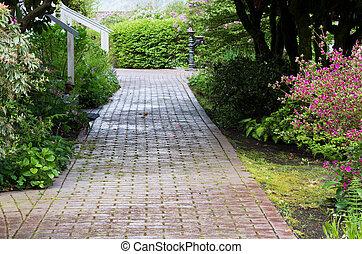 Garden path through the woods