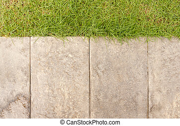 Garden path with grass growing up on top background texture