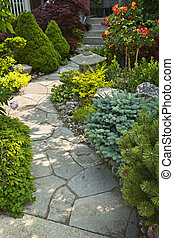 Garden path with stone landscaping - Natural flagstone path ...