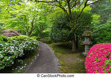 Garden Path with Stone Lantern and Azaleas