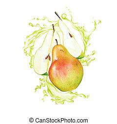 Garden pears in the splash of light green juice