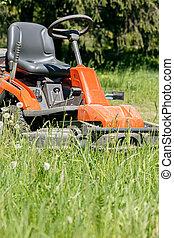garden., pelouse, travail, faucheur, découpage, vert, backyard., herbe