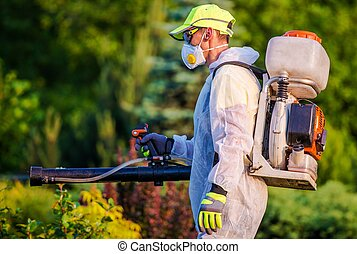 Garden Pest Control Services. Men with Gasoline Pest Control...