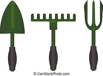 garden., petit, râteau, pelle, outils