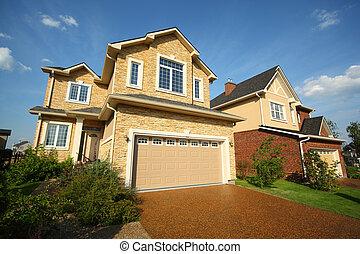 garden., pierre, two-storied, deux, garage, beige, petite maison, nouveau, brique