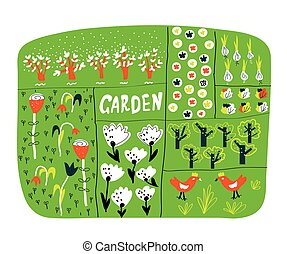 Garden plan with beds funny