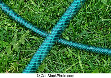 Garden plastic hosepipe on the green grass - Portable garden...