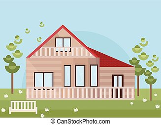 garden., plat, style, bois, vecteur, maison, façade