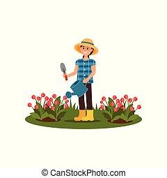 garden., plat, vrouw, tulips., werkende , lente, watering, jonge, illustratie, bedden, flowers., vector, bloem, het glimlachen meisje