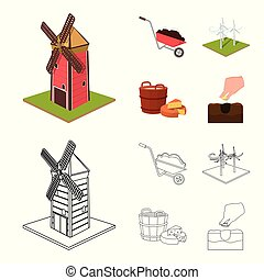 Garden, plot, ecology and other web icon in cartoon,outline style. Drink, liquid, farm icons in set collection.