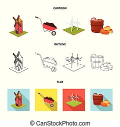 Garden, plot, ecology and other web icon in cartoon,outline,flat style. Drink, liquid, farm icons in set collection.