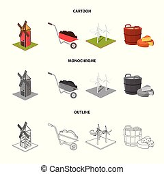 Garden, plot, ecology and other web icon in cartoon,outline,monochrome style. Drink, liquid, farm icons in set collection.