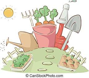Garden Plot Tools Illustration