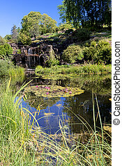 Garden pond and waterfalls on back