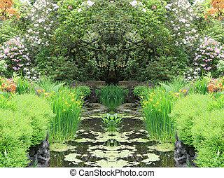 Garden pond - Beautiful garden pond in spring.