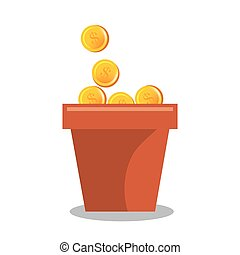 garden pot of coins vector illustration design