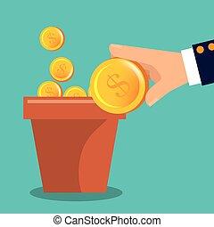 garden pot of coins vector illustration design