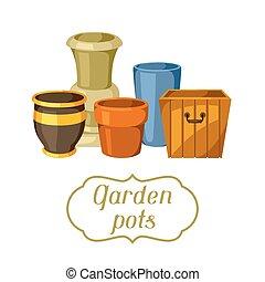 Garden pots. Background with various color flowerpots