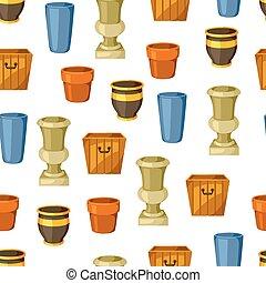 Garden pots. Seamless pattern with various color flowerpots