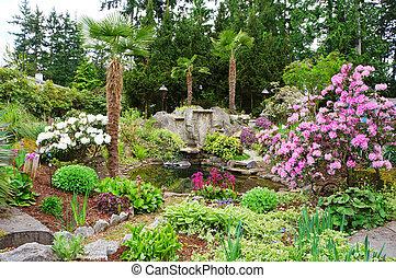 garden., printemps, américain, nord-ouest, maison, paysage