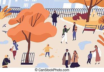 garden., przebyć, publiczność, płaski, rekreacyjny, miejski, upadek, wektor, mężczyźni, działalność, park., rysunek, kobiety, place., jesień, ludzie, czas, dzieci, ilustracja, pieszy, miasto