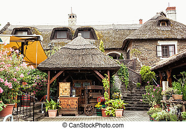 Garden restaurant with thatch in hungarian village, tourist destination