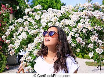 garden., ro, kvinna, lycklig