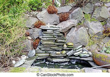 garden., rocheux, idée, exotique, landscaping, conception, fontaine