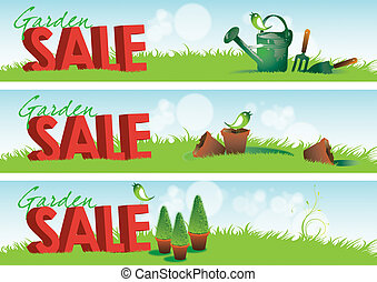 Garden Sale Banners - Three garden themed horizontal banners...