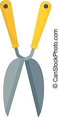 Garden scissors icon, flat style