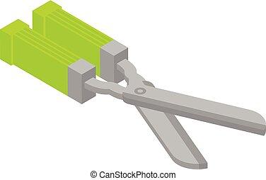 Garden scissors icon, isometric style