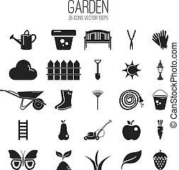 garden., set, vettore, illustrazione, icona