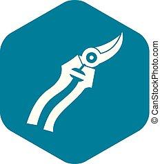 Garden shears icon, simple style