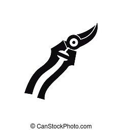 Garden shears icon, simple style - Garden shears icon in...